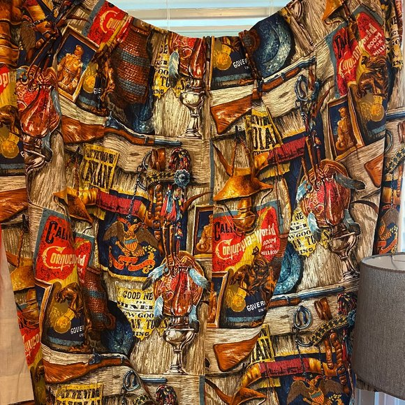 VINTAGE Country Cowboy Western Blackout Curtains 2